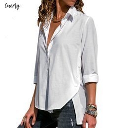 ladies white button down collar shirt Australia - Blouse Long Solid Sleeve Tops Blusas Turn Down Collar Womens Office Button Side Split Blouses Casual Loose Ladies Shirts