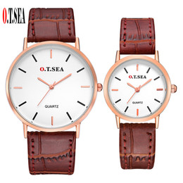 Discount pairs watches - O.T.SEA Brand Leather Pair Watches Women Men Lovers Fashion Casual Dress Quartz Wristwatches 6688-5