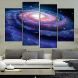 Wedding Canvas Prints Australia - HD Printed Wedding Decoration Painting 4 Panel Galaxy Landscape Picture Modern Frame For Living Room Decor High Quanlity Canvas