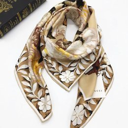 flower wrapping materials 2019 - Brand style fashion women's square scarves 100% silk material good quality print flowers pattern size 110cm - 110cm