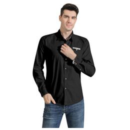 Discount stamp shirt men - Men's Blouse stamped Personality Long Sleeve solid Long-Sleeved Casual Slim Shirt Men Solid business Camisa Masculi