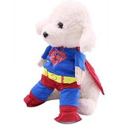superman dog jacket NZ - 2019 Standing Superman Clothes With Cloak for Dogs Funny Costume Pet Cosplay Outfit Puppy Accessories Size XS-XL Pug