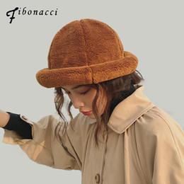 214b14a815ce03 Fibonacci Faux fur crimping bucket hat thick warm elegant solid color  winter hats women ladies fashion caps