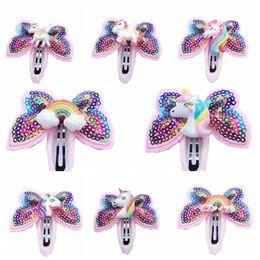 Sequin bowS hair clipS online shopping - Unicorn Hairpins Sequin Glitter Girls Hair Clips Girls Bowknot Barrette Kids Hair Boutique Bows Rainbow Horse Headdress GGA2536