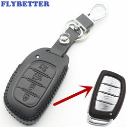 hyundai elantra car key NZ - FLYBETTER Genuine Leather 4Button Smart Key Case Cover For Hyundai IX25 IX35 Elantra Sonata I40 Car Styling L86