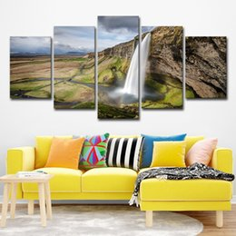 $enCountryForm.capitalKeyWord Australia - 5PCS Waterfall Landscape Poster Wall Art HD Print Canvas Painting Fashion Hanging Pictures