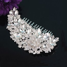 Feather crystal hair comb online shopping - Wedding decorations to luxury crystal bridal flower hair comb wedding hair plug comb plate bridal headdress wedding