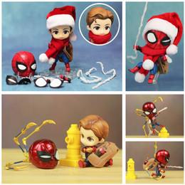Cute Iron Man Figure Australia - Marvel Homecoming Avengers 3 Cute Iron Spiderman Spider Man 10cm Action Figure Q Tom Holland Toys Doll Ko's Nendoroid 781 1037 Y19051804