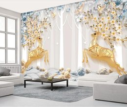 $enCountryForm.capitalKeyWord Australia - Stereo Gold Deer Tree Wallpaper Mural Nordic Embossed Contact Paper Photo Wallpaper Flower Bird 3d Wall Papers Home Decor