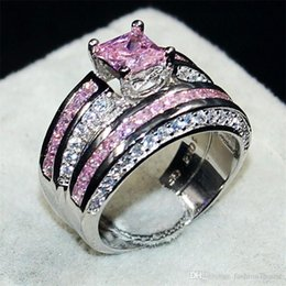 Gold Pink Rings For Women Australia - Fashion Jewelry Pink 6*6mm Princess-cut Topaz gemstone rings finger set 2-in-1 Luxury 10KT White Gold Filled Wedding Bride Ring for Women