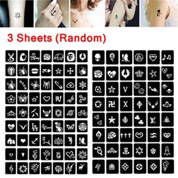 kids drawing templates Australia - 105pcs DIY Temporary Tattoo Stencil Henna Hollow Drawing Kid Tattoo Mixed Design for Hand Arm Leg Body Art Template Makeup Tools