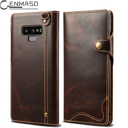 samsung note genuine leather NZ - For Samsung Note 9 Case Genuine Leather Wallet Stand Protect Flip Case for Samsung Galaxy S8 S9 Plus Note 8 9 Note9 Case Cover