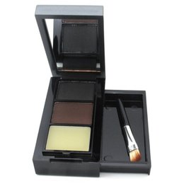 Eyebrow Shadow Powder NZ - MENOW Eye Shadow Eye Brow Makeup Waterproof 2 Color Eyebrow Powder Palette Eyebrow Wax With Double End Brush Make Up Set Cosme