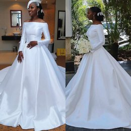 Yellow Satin Wedding Dresses Australia - 2019 A Line African Wedding Dresses Off The Shoulder Satin Sweep Train Long Sleeve Elegant Bohemian Wedding Dress Custom Cheap Bridal Gowns