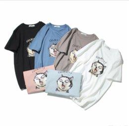Ingrosso Magliette da uomo originali giapponesi moda estate O-collare stampa husky maschio casual maniche corte Gujee t-shirt