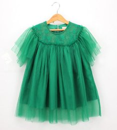 ruffle tutus Australia - Princess Girls Kids Tutu Lace Embroidery Summer Dress Green Color Lovely Baby Ruffles Western Party New Clothing Dress
