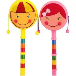 infant drums NZ - Drum-shaped Rattle Newborn Baby Cartoon Smile Rattle Double Hand Drum Rattles Infant Puzzle Toys Baby Gift