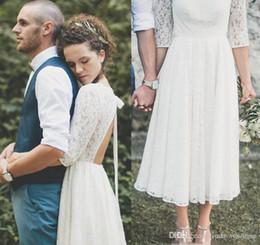 $enCountryForm.capitalKeyWord NZ - 2019 New Designed Bohemian Short Beach Lace Summer Tea Length Wedding Dress Country Style Western Bridal Gown Custom Made Plus Size