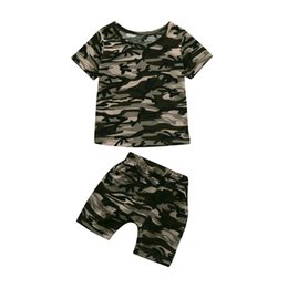 Toddler Winter Outfits UK - 2019 Boys Clothes Toddler Kids Baby Boys Camouflage T shirt Tops+Shorts Outfits Clothes Set Children Clothing Kids Boy