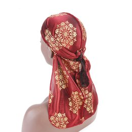 Ear muffs for adults online shopping - Designer Silky Durag Gold Stamping Style Silk Hair Bonnets Skull Pirate Hat With Long Tail For Adult Men And Women