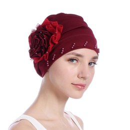 Gauze Scarf Cotton Australia - New Pattern Side Discoid Gauze Lace Package Edge Nail Pearl Muslim Baotou Cap Solid Color Scarf Hat