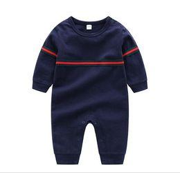Kids Long Jumpsuit Australia - Kids Cotton baby Cloth Solid Color Baby Romper Spring Autumn Long Sleeve Baby Boy Girl Romper Infant Warm Jumpsuit 0-24