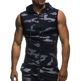 $enCountryForm.capitalKeyWord NZ - Vest Men Tank Tops Shirt Sleeveless Hooded Bodybuilding Clothing And Fitness Gyms Tank Top Camouflage Vest Undershirt