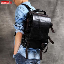 ef139e627a7e Genuine Leather Men Backpack 14 inch laptop bag travel shoulder bag  handmade men and women leather backpack classic casual bags