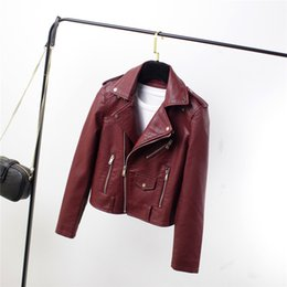 $enCountryForm.capitalKeyWord Australia - 2019 Autumn Spring Women Soft Pu Leather Jacket Motorcycle Fashion Faux Leather Jacket Rivet Turn-Down Collar Short Coat