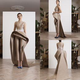 fc6c2739871 2019 Azzi   Osta Women Jumpsuits With Long Train Satin Lace Appliqued Jewel  Neck Gorgeous Evening Dress Custom Prom Special Occasion Gowns