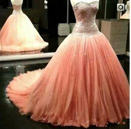 dress quinceanera princess cheap Canada - Sparkly Cystal Beaded Peach Princess Quinceanera Ball Gowns Sweetheart Plus Size Sweep Train 2020 Sweet 16 Pageant Party Prom Wears Cheap
