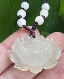 $enCountryForm.capitalKeyWord Australia - necklace Free shipping ++++Natural Jade Lotus Necklace Pendant Fashion Chinese Hand-Carved Lucky Amulet