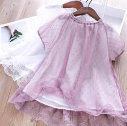 $enCountryForm.capitalKeyWord Australia - Children dress shirt sweet girls polka dots lace gauze embroidery tops kids lace collar short sleeve princess dress girls dresses F8045