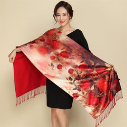 Wholesale chinese scarves for sale - Group buy Winter Warm Flower Print Silk Scarf Cashmere Women Chinese Oil Painting Double sided Scarves Wraps Fashion Shawl foulard