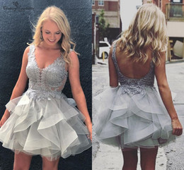 $enCountryForm.capitalKeyWord Australia - Grey Cocktail Dresses Short Sexy Backless Sheer Top V-Neck Lace Appliques Mini Homecoming Dresses Prom Gowns Plus Size Customized