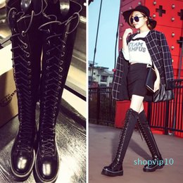 lace up flat boot Canada - Lace Up Over Knee Boots Women Boots Flats Shoes Woman Flat Heel Rubber PU Leather Boots Botas Winter Thigh High Boot