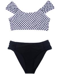 $enCountryForm.capitalKeyWord Canada - Plus Size Bikini Set Pad Womens Black White Grid Print Swimsuit Sexy Swimwear Tankini Top Briefs Bottom Off Shoulder Two Piece Bathing Suit