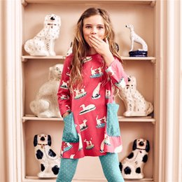 European Printed Dress NZ - Children's cotton girls long-sleeved dress European and American style children's princess dress knit printed girls skirt