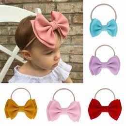 diy baby head bows Australia - 9 Colors Lovely Big Bow Headbands DIY Double Deck Bowknot Nylon Hair Bands For Baby Girls Children Head Wraps Hair Accessories