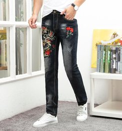 Discount japan fashion jeans - High quality fashion casual jeans men Japan style ripped distressed homme denim trousers plus size 29-38 3d embroidery p