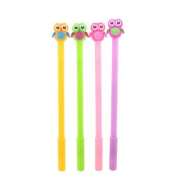 owl stationery Canada - cute cartoon owl gel pens 0.5mm black ink neutral pen material escolar stationery school writing supplies korean stationery
