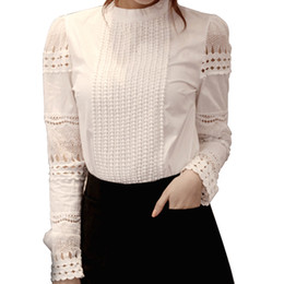 $enCountryForm.capitalKeyWord Australia - Women Hollow Blouse Crochet Slim Fit Long Sleeve Basic Tops Plus Size Lace Shirt