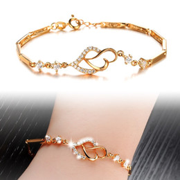 two hearts chain Australia - Heart And Soul Bracelets Two Heart Diamond Romantic Unique Designer 18K Gold Link Chain Bangles Jewelry For Women Engagement Bracelet Gifts