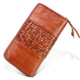 $enCountryForm.capitalKeyWord UK - Men's wallet Business retro clutches Vegetable tanned hand-woven handbag Multi-card men's bag Clutch Purse