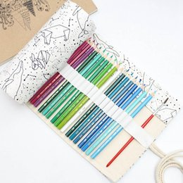 brush bag roll Australia - Simple And Portable 36 48 72 Holes Big Constellation Pencil Case Canvas Roll Pouch Pencilcase Sketch Brush Pen Pencil Bag Tools