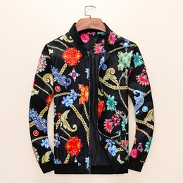 Wholesale Foreign trade spring and autumn new jacket men stand collar casual digital print jacket high end spot real shot