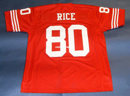 Дешевые ретро # 80 Джерри Райс CUSTOM MITCHELL NESS Джерси красный Мужские шитья High-End Размер S-5XL Футбольная форма колледжа NCAA на Распродаже