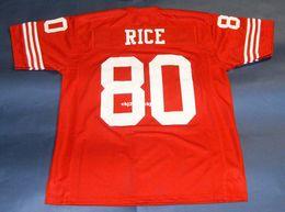 Barato retro # 80 JERRY ARROZ CENTEIO MITCHELL NESS Jersey vermelho Mens Costura High-end Tamanho S-5XL Futebol Jerseys Faculdade NCAA em Promoção