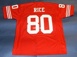 Ingrosso Cheap # 80 JERRY RICE CUSTOM MITCHELL NESS Jersey rosso Mens Stitching High-end Taglia S-5XL Football Jerseys College NCAA