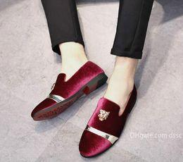 $enCountryForm.capitalKeyWord Australia - Gold Top and Metal Toe Mens Velvet Dress shoes italian mens dress shoes Handmade Loafers Designer Shoe